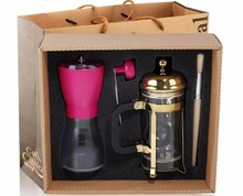 Free Shipping Coffee gift box  Grinder 350ml French Presses brush