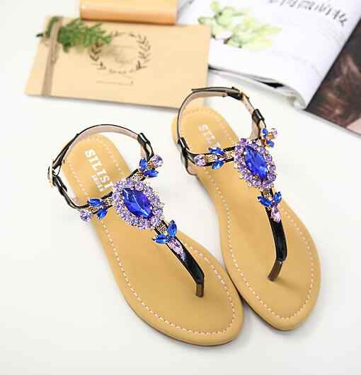 fce359f708b61b YUE JABON woman Sandals Women casual Shoes Rhinestones Chains Thong  Gladiator Flat Sandal Crystal Chaussure Summer