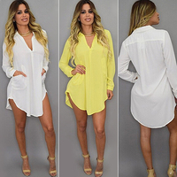 Women's Fashion Sexy Deep V Neck Casual Loose Long Sleeve Pocket Long Shirt