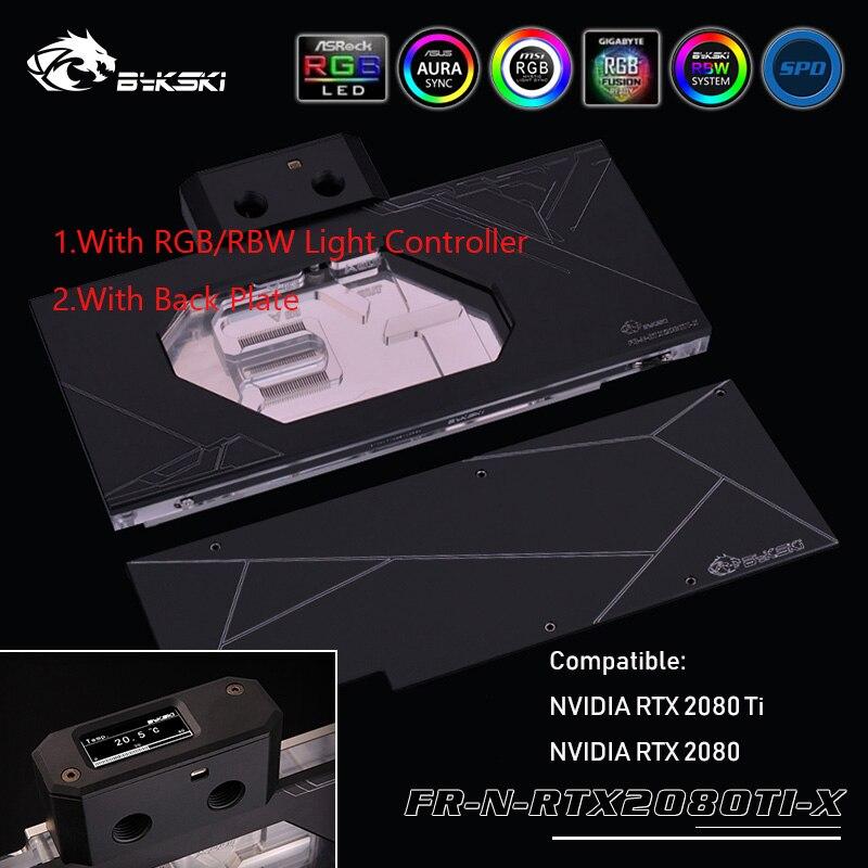 N-RTX2080TI-X Bykski watercooling GPU cooler compatible NVIDIA RTX 2080 Ti / NVIDIA RTX 2080 with backboard /temperature display