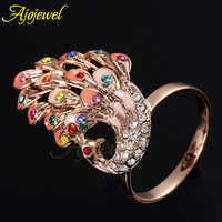 Ajogem magnifique multicolore émail paon strass cristal animaux anneaux pour les femmes