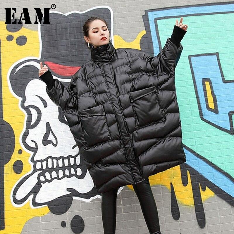 [EAM] 2019 Новинка весны Стенд ошейник с длинным рукавом черный Свободные Большой Размеры Утепленная одежда хлопок-ватник Для женщин Мода JI520