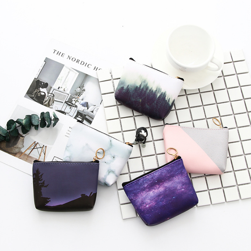 Contemplative 1 Pcs Kawaii Mini Marble Starry Sky Moon Forest Coin Wallet Bag Pu Leather Money Pouch Change Key Bag Stationery Card Holders Refreshing And Beneficial To The Eyes