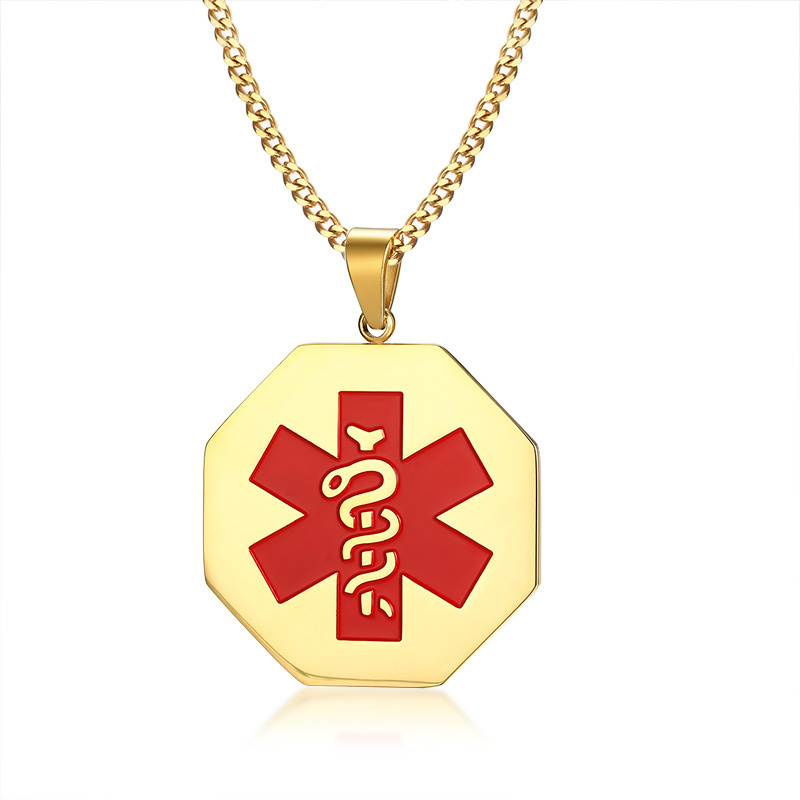 Engraved Medical Alert ID Necklace Pendant Stainless Steel Hexagonal 5