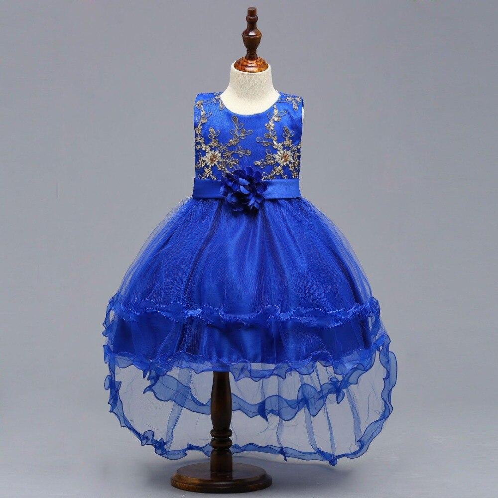 Royal Blue New O-neck Sleeveless Little   Flower     Girl     Dresses   Elegant Big Bow   Girl     Dress   Princess Ball Gown