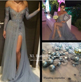 Real Picture Mermaid  Sleeveless Off the Shoulder Open Back Sexy Split bandage Maxi Dress Sexy Big Boobs in Sexy Evening Dress