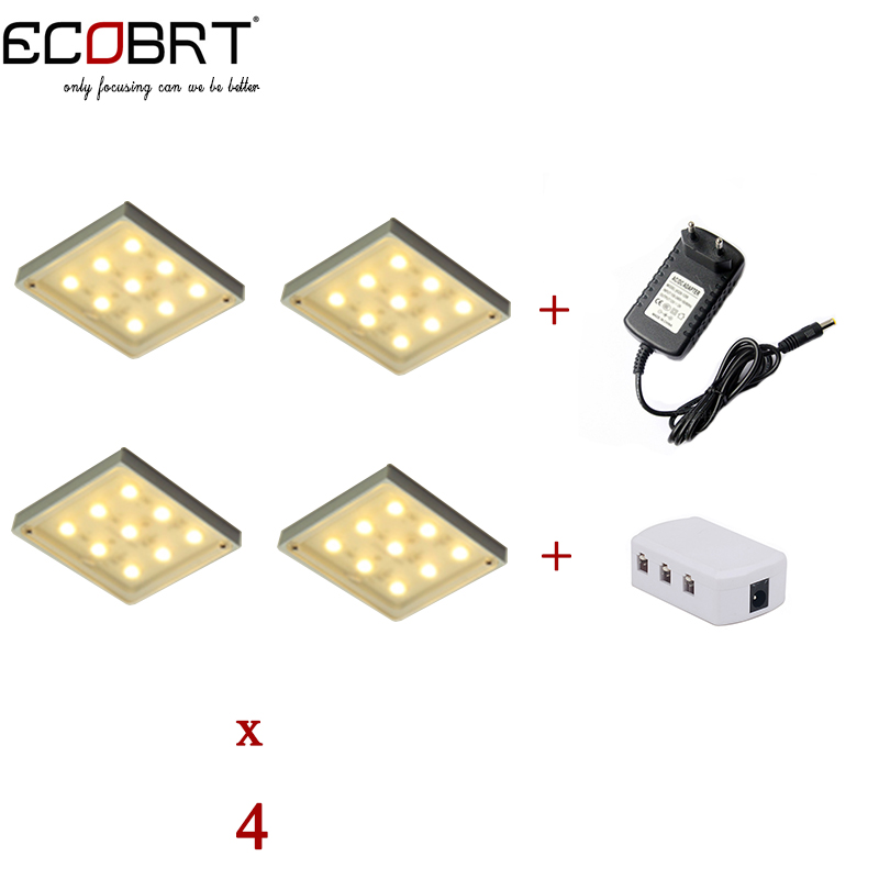 New 12v LED Puck lights kits Square Aluminum Spotlights 4lamps + splitter + power adapter as Kitchen Under Cabinet Lights стоимость