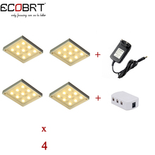 New 12v LED Puck lights kits Square Aluminum Spotlights 4lamps + splitter power adapter as Kitchen Under Cabinet Lights