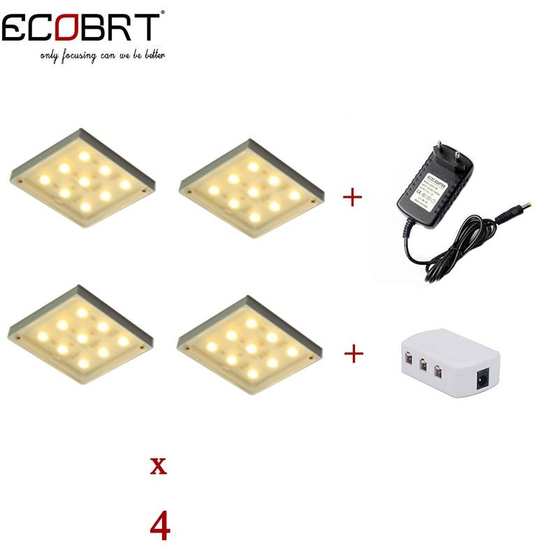 Nouveau 12 v LED Puck lumières kits carrés en aluminium projecteurs 4 lampes + séparateur + adaptateur d'alimentation comme cuisine sous les lumières de l'armoire