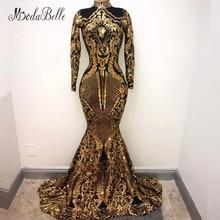 modabelle High Neck Gold Sequins Evening Dress Saudi Arabia Dubai Moroccan Long Sleeve Formal Prom Party Gowns Avond Jurken