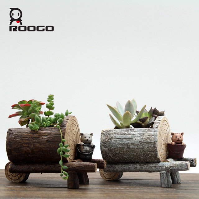 Roogo Creative Stump Style Flower Pot Resin Tree Imitation Garden Planter  Mini Succulent Yard Pots Balcony