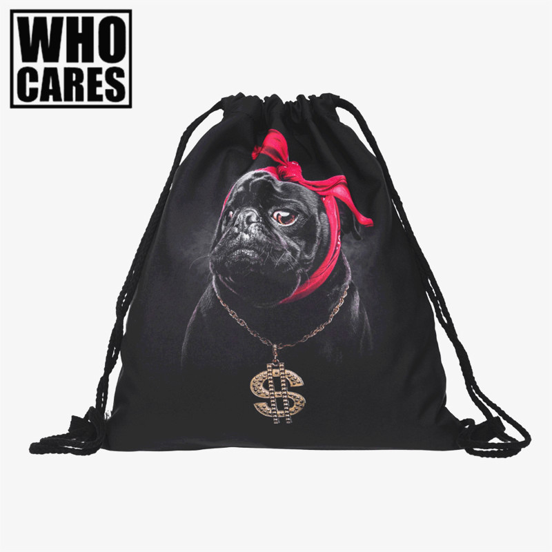 Gangsta pug dog 3D Printing backpack women Travel Drawstring bag mochilas mujer 2017 fashion mochila feminina backpacks Vogue