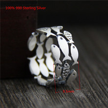 100% 990 Sterling Silver Unique Rings Many Small Fish Beautiful Simple Ring for Women Men Jewellery