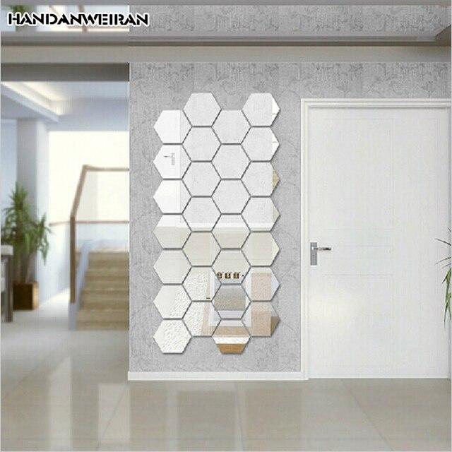 12 pz moderno creativo 3D oro/argento specchio esagonale acrilico ...