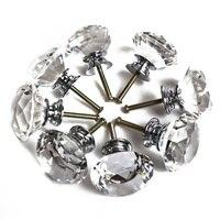 16x40 ملليمتر واضح الماس كريستال زجاج الباب المقابض درج خزانة أثاث المطبخ