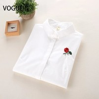 VOGUE N New Womens Ladies Spring Rose Embroidered Floral Long Sleeve Blouse Casual Tops Shirt White