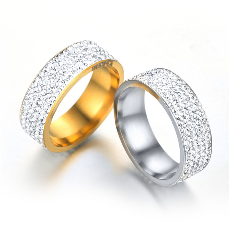 Hip Hop Men's Iced Out Bling Ring Male Gold Color Stainless Steel Full Rhinestone Wedding Engagement Rings For Men Women Jewelry