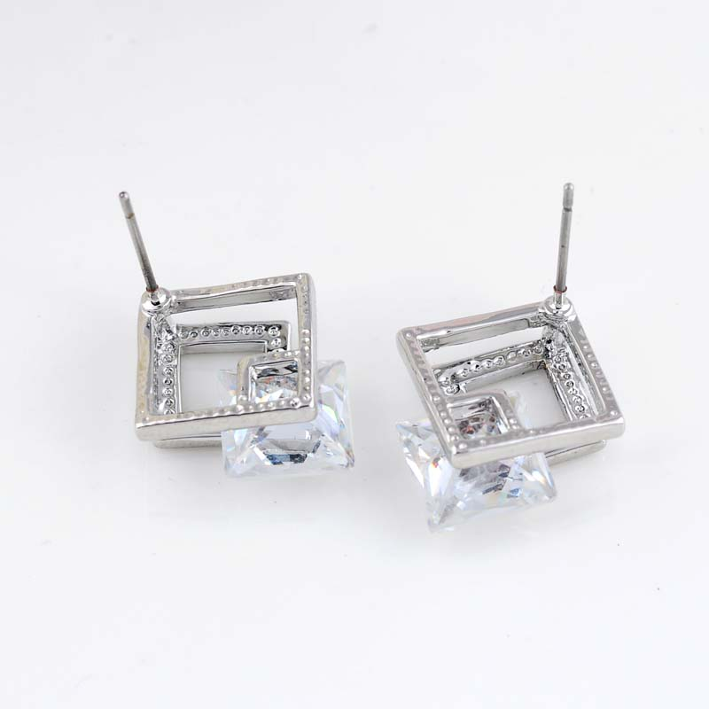 New Arrival Big Brands Double Square Shape Earrings Jewelry Fashion Cubic  Zirconia White Gold Plated Stud Earrings For Women-in Stud Earrings from  Jewelry ... c88c0b282f73