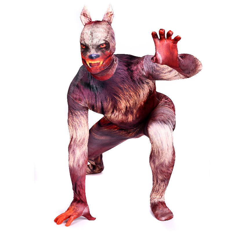 Halloween Adult Werewolf Costumes Spandex Anime SuperHero Cosplay Red full body Costume Zentai Suits Bodysuit