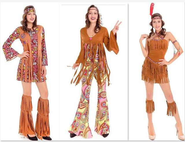 245ef1f89 Halloween Womens Native American Cosplay Indian Party Fancy Dress plus size  3XLTassel Dress
