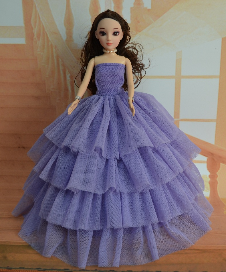 Hand case for Barbie doll clothes can be children made clothing purple wedding dress case for Barbie doll clothing