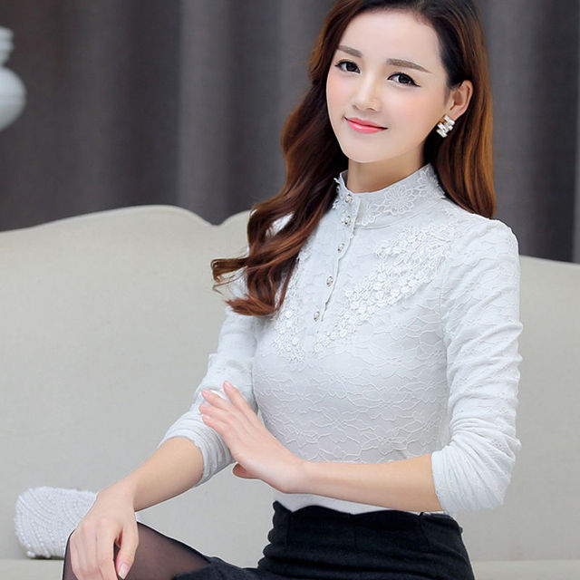 Autumn Elegant Lace Blouse Women Stand Ladies Tops Long Sleeve Button Shirt Fashion Korean Clothes Femme DD2252 3