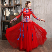 Red Wedding Bride Chinese Style Cheongsam Traditional Lady Long Qipao Embroidery Women's Evening Dress marry Clothes S XXL