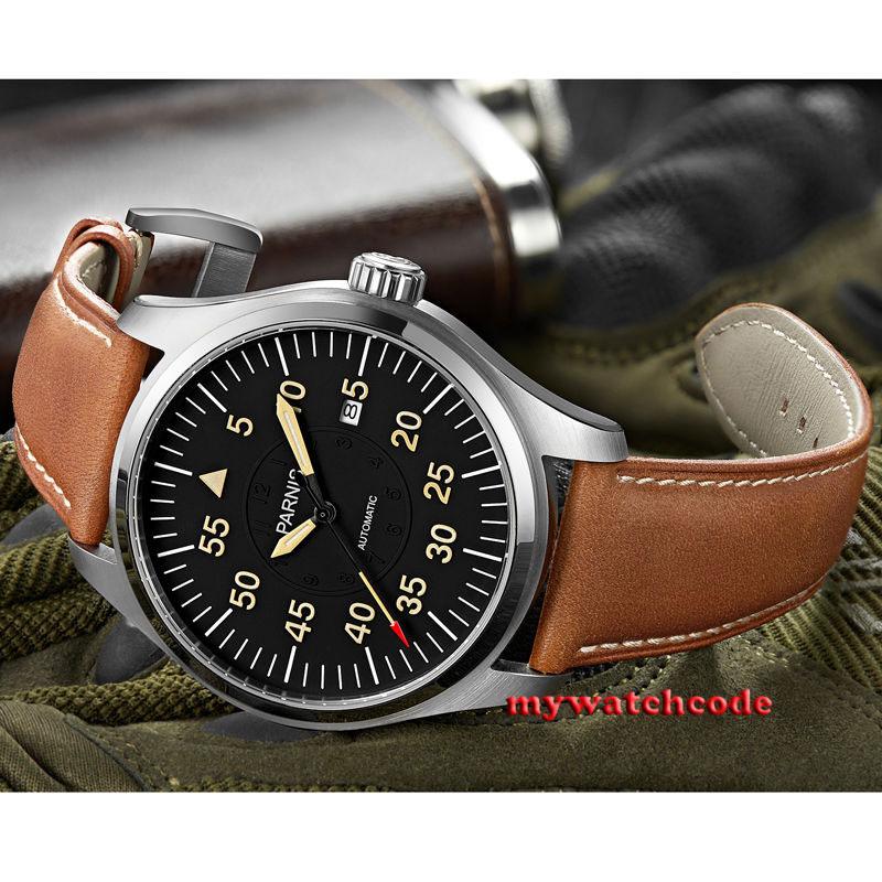 43mm Parnis black dial date Sapphire Glass miyota Automatic mens Watch P624 цена и фото