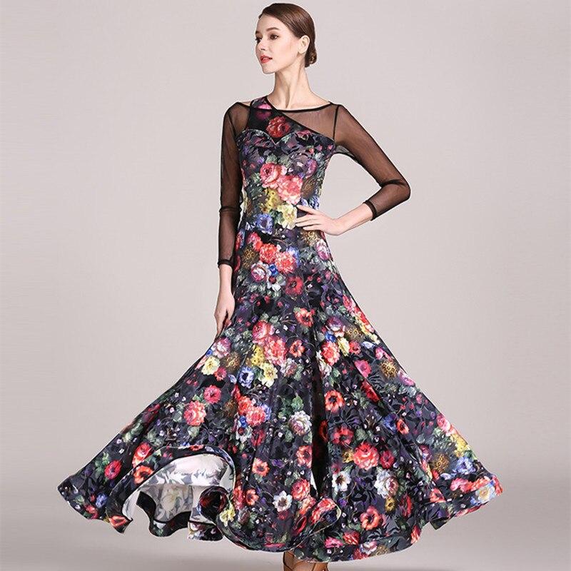 3 Colors Print Ballroom Waltz Dress Rumba Standard Social Dress Ballroom Dance Competition Dress Fringe Modern Dance Dress