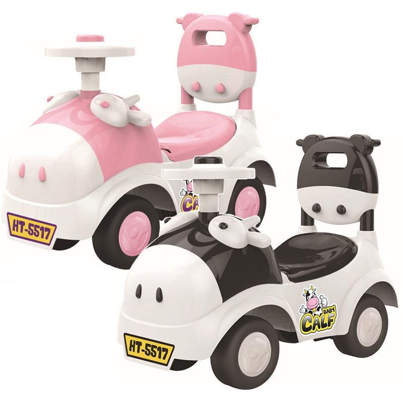 Детский Сияющий автомобиль ходунки, игрушка для детей, катающаяся на автомобиле, От 1 до 3 лет, детский скутер, балансировочный велосипед, поезд, ходунки, 4 колеса - 4