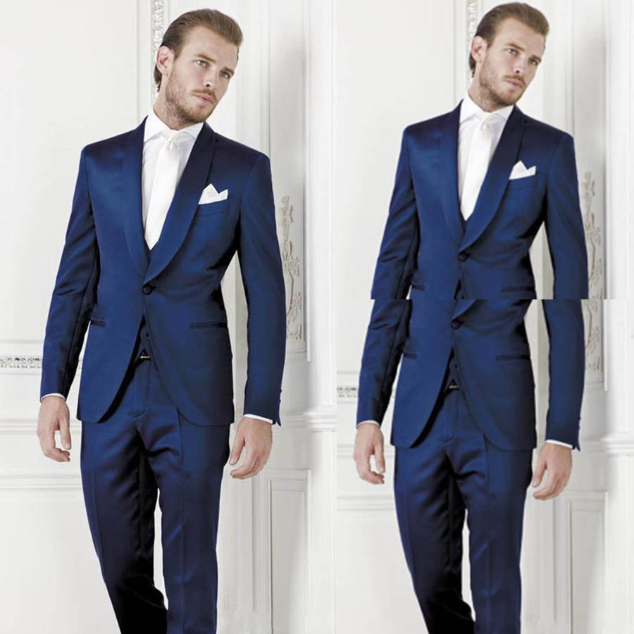 Costume home Royal Blue Tuxedo Wedding Suits With Pants Mens Suit ...