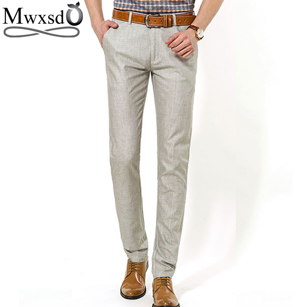 Mwxsd summer Mens Casual linen pants brand Men Straight cargo long pants Men dress Pants ...