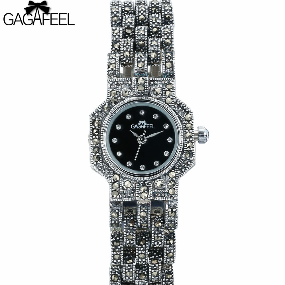 GAGGAFEEL Elegant Woman's Thail Silver Watch Fashion 925 Sterling Silver Watches Clock for Lady Women Quart Hours стоимость