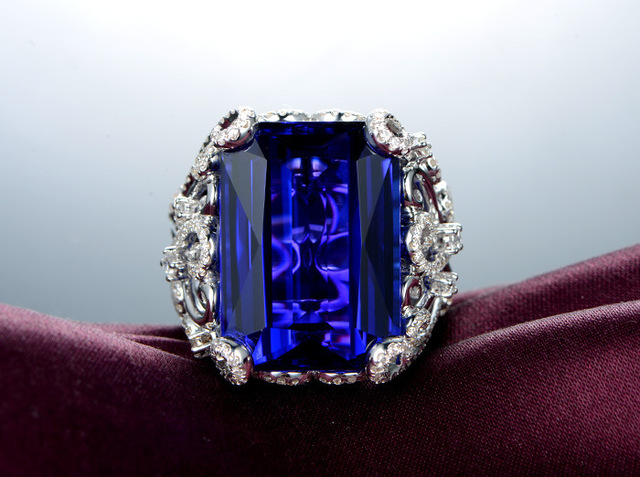 Brand new original 3 carat 925 sterling silver sapphire diamant ring tanzanite jewelry for women US size from 4.5 to 9