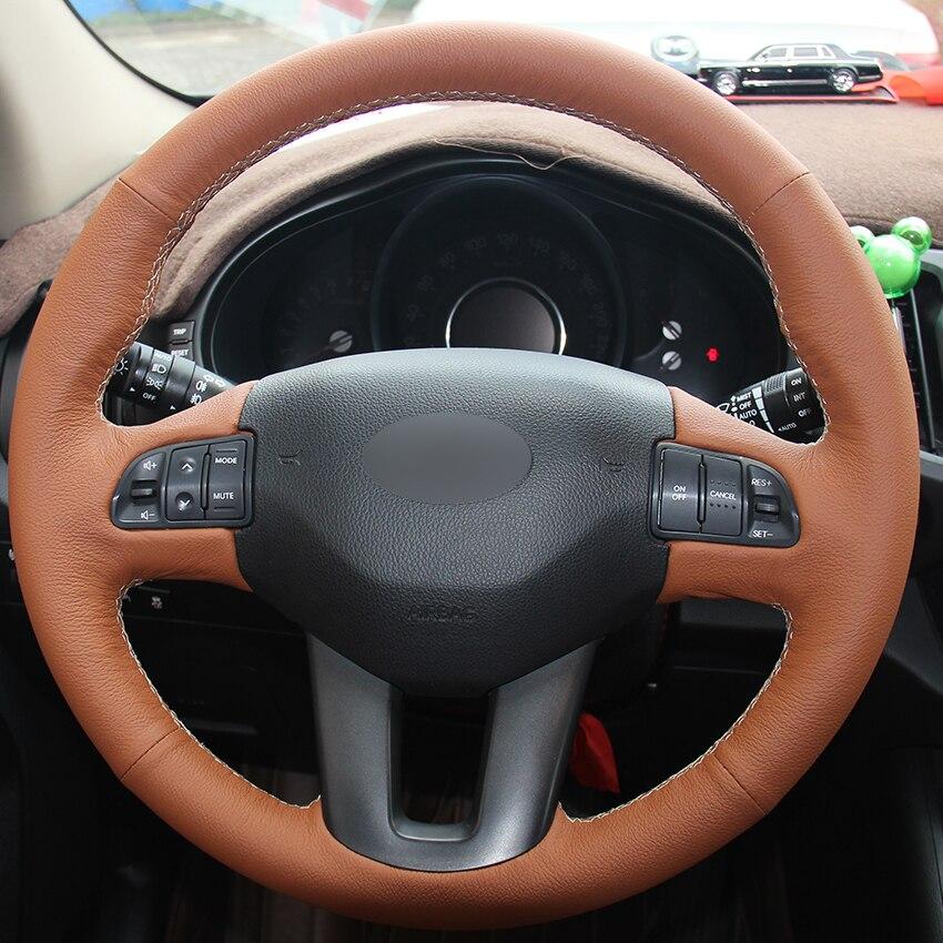 Housses de volant de voiture en cuir naturel marron pour Kia Sportage 3 2011-2014 Kia Ceed Cee 'd 2010-2012 housses de direction automatique