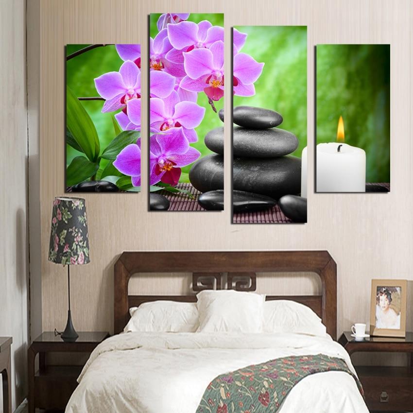 Nové modulární obrázky Móda 4 Panel Moderm Domácí dekorace Kombinovaná malba na plátně Růžová orchidej kámen pro krásu života zdarma S