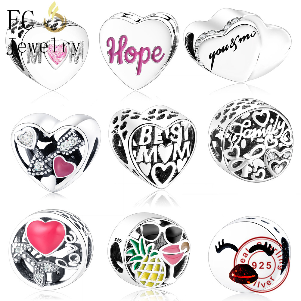 FC Jewelry Fit Original Pandora Charms Bracelets 925 Sterling Silver Breasts Cancer Hope Ribbon Heart Family Mom Bead Women DIY