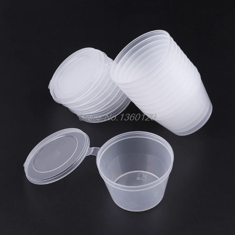 10pcs Disposable Clear Plastic Sauce Chutney Cups Slime Storage Container Box With Lids 80ml Wholesale&DropShip