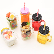 450ml Glass Mason Jar Mug with Lid and Straw Summer Ice Cream Fruit Cold Drinking Water Jars Juice Cup