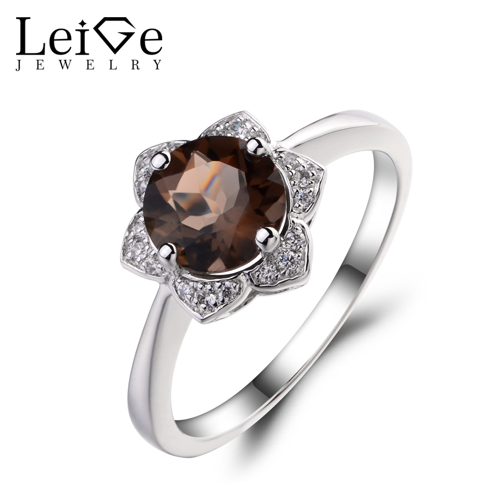Leige Jewelry Natural True Smoky Quartz Engagement Anniversary Rings 925 Sterling Silver Ring Round Cut Gemstone Rings for HerLeige Jewelry Natural True Smoky Quartz Engagement Anniversary Rings 925 Sterling Silver Ring Round Cut Gemstone Rings for Her