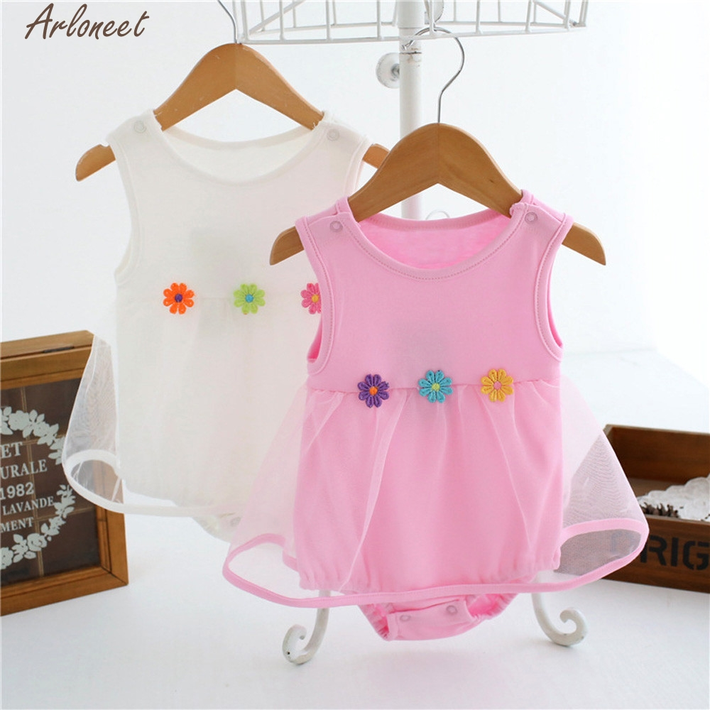 ARLONEET Baby Girls Infant Birthday Tutu Floral Clothes Jumpsuit Princess Romper Girls Summer Clothing Newborn Jan31 D25
