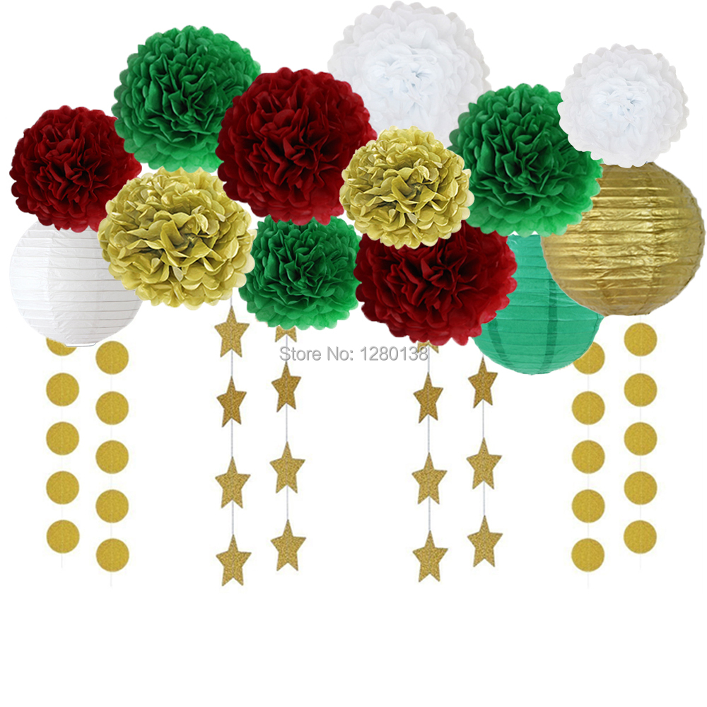 2017 Red Green Gold Xmas Christmas Decorations Kit Tissue
