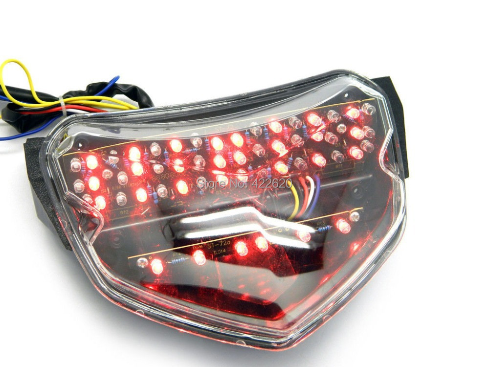 Motorcycle Clear LED Tail Light with Turn Signal Brake Light Indicator Integrated for Suzuki GSXR600 GSXR