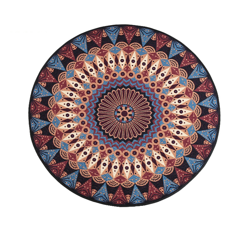 Vintage Ethnic Style Geometry Flower Printing Round Rug Easy to Clean Anti slip Rugs and carpets for Home Living room/Bedroom
