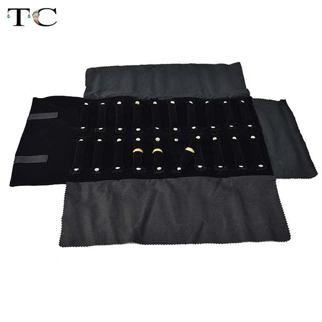 Free Shipping Black velvet Jewelry Ring Display Cases Ring Holder Travel Roll Bag Jewelry Organizer Storage Bag