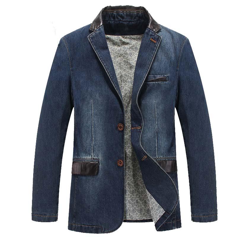 New Fashion Brand Clothing Jeans Jacket Men Denim Blazer Suit Jacket Cotton Blue Blazers Vintage Coat Jacket Big Size M-4XL