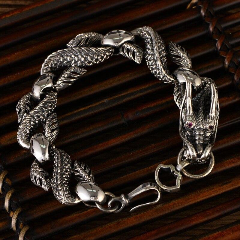 Bracelet chaîne de Dragon en argent Sterling 925 Bracelet Vintage Punk pour hommes Bracelet de Dragon en argent thaïlandais bijoux de luxe cadeaux d'anniversaire