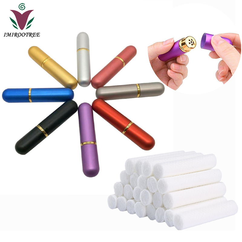 Free Ship 48Sets colored Empty Essential Oil Nasal Inhaler Refillable Bottle Aluminum Nasal Inhalers with 54mm