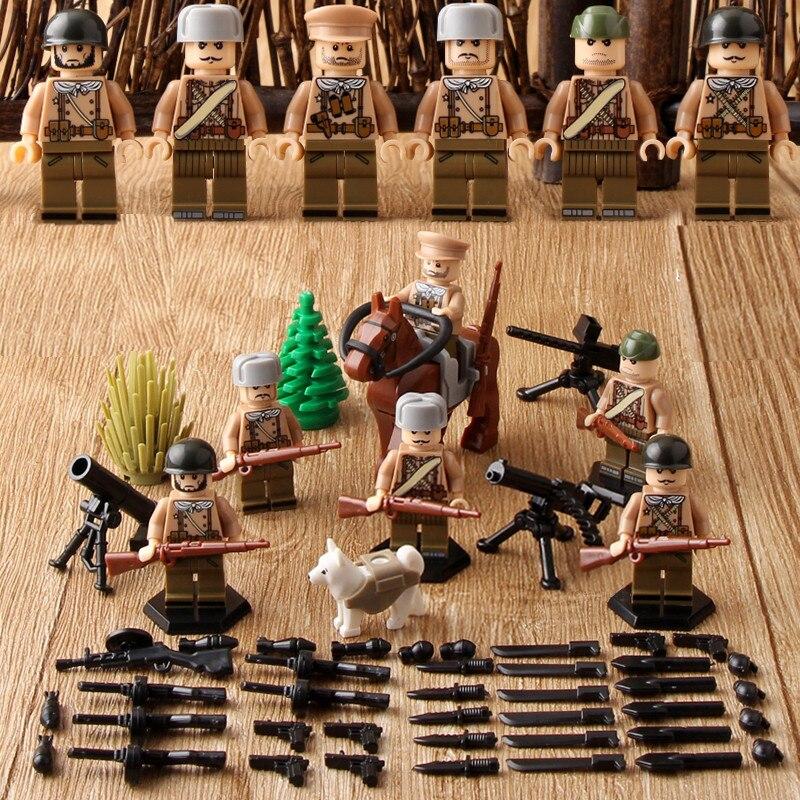 Russian Army WORLD WAR 2 Military Soldier SWAT Weapon Gun Soviet Guards Building Blocks Figure Boy Educational Toy Gift Children