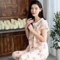 La primavera y el Verano Tejida de algodón de Las Mujeres ropa de Noche Elegante Dulce de la princesa 100% Algodón pantalones de Manga Corta Salón pijamas Conjuntos